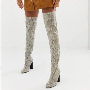 ASOS DESIGN stretch thigh high boots in snake